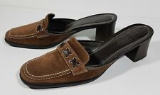 Coach Iris brown leather slip on square toe loafer heels mules ladies size 7.5 B