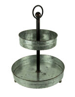 Galvanized Metal Rustic Round 2 Tiered Country Farmhouse Tray Serving Stand