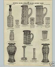 1913 PAPER AD 2 Page Crystal Glass Sperling Silver Deposit Ware Pitcher Vase