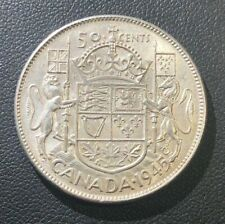 AU+ 1945 Canadian Half 50 Cents Silver Coin, Nice High Condition!