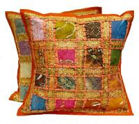 2 Orange Embroidery Sequin Patchwork Sari USA Pillow Cushion Covers AICC1003