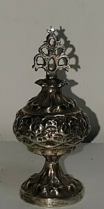 ANTIQUE FORGED PURE SILVER KOHL FLASK / BOTTLE KLUTCH? INDIAN ISLAMIC ESTATE