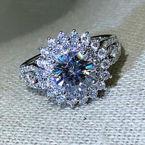 925 Silver Wedding Engagement Jewelry Women Gorgeous White Sapphire Rings Sz6-10