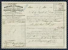 CONNAISSEMENT - Bateaux à vapeur entre CHARLEVILLE (Ardennes) et PARIS - 1861