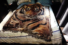 Tiger Throw Blanket Tapestry 50'' X 60'' Woven Afghans Wall Hanging Cotton Decor