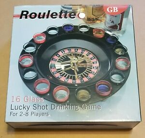 GB Roulette 16 Glass Lucky Shot Drinking Game for 2-8 Players BRAND NEW IN BOX