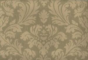 Wallpaper Echo Design Olive Green on Tan Damask, Real Grasscloth Weave