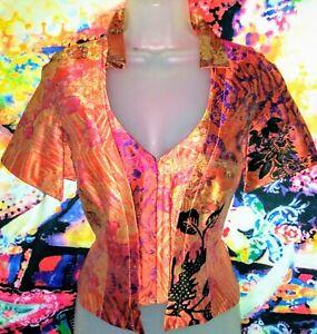 Christian Lacroix,oriental corset style floral Silk shirt Size 40