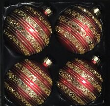 Red Glittery Gold Candy Striped Glass Christmas Ornaments Set Of 4
