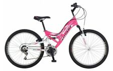 "Salcano Helen 24"" Wheel Dual Suspension Girls MTB Bike Pink/White 21 Speed 8+"