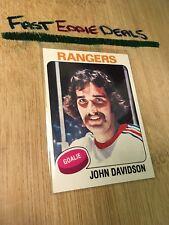 TOPPS HOCKEY 1975 JOHN DAVIDSON GOALIE CARD 183 NEW YORK RANGERS EXCELLENT