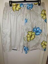 "Burnside Boardshorts XLarge Swin Suit 35"" Elastic Waist White Blue Yellow Floral"