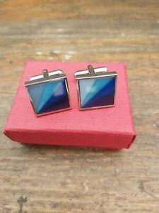Vintage Cufflinks Boxed Gift Set - Blue Diagonal Stripe design