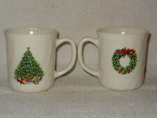 Pair Salem Porcelain White Glass Christamas Theme Coffee Mugs- Made in France