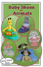 Crochet Baby Shoes and Animals crochet baby bootie pattern by Annie Potter