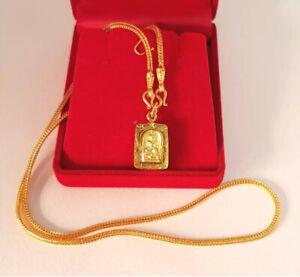 Necklace Phra Somdej Gold Plated 96.5% Micron Case Pendant Thai Buddha Amulet
