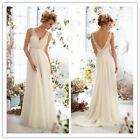 New White Ivory V Neck Lace Bridal Gown beach Wedding Dress Stock Size 6-18