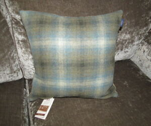 BNWT Abraham Moon Wool Tweed Check, Velvet Back Cushion & Feather Pad