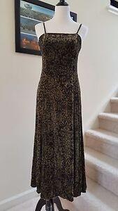 New Peruvian Connection Emmanuelle Printed Long Velvet Strap Dress, Olive, 2