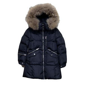 Girls Size 10 SAM Black Hooded Nylon Down Filled Puffer Real Fur Trim Hood