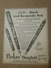 1931 Parker Duofold Pen Newspaper Ad Black & Burgundy Red