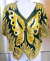 VTG. 80s SEQUIN BUTTERFLY DISCO TOP BLACK + GOLD  BEADED BLOUSE INDIA