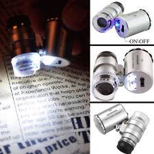 60x Handheld Mini Pocket Microscope Loupe Jeweler Magnifier LED Light Hot Sale