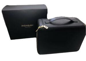 YSL Yves Saint Laurent Black Makeup Vanity Train Hard Case Travel Cosmetic Bag