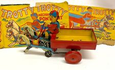 Vtg Tin Toy Wind Up Mechanical Pony Cart Tin Toy Made In England Works