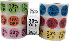 "Percent Off Sale Stickers | 0.75"" Inch Round 