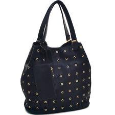 New 2018 Womens Handbag Faux Leather Tall Punchout Shoulder Bag Hobo Purse Black