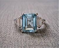 3ct Emerald Cut Aquamarine Diamond Solitaire Engagement Ring 14k White Gold Over
