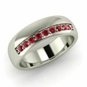 Natural Ruby Gemstone 18K Solid White Gold Men's band Ring