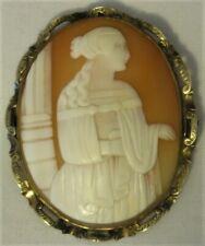 Beautiful 10k Yellow Gold Victorian-Era Shell Cameo Pendant/Brooch