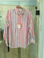 NWT $138 TOMMY BAHAMA mens Silk cotton l/s button front shirt M Stripe Pink