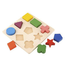 Wooden Pattern Stacking Block Toy Montessori Educational Play Colorful
