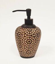 BROWN+BEIGE CARVED MANDALA DESIGN TEXTURE 3D RESIN DISPENSER+BURNED BRONZED PUMP
