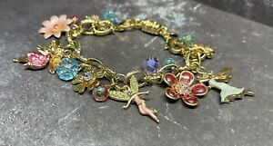 Kirks Folly Flowers and Fairy Charm Bracelet Magnetic Extension Fantasy