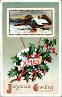 Waltham Massachusetts Hampton NH 1910 Embossed Christmas Postcard - Posted 1C