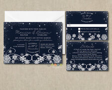 Personalized Rustic Snowflakes Navy Wedding Invitation Suite with Envelopes