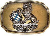 Gürtelschnalle Buckle 4farbige Schließe mit Löwe und Bayern Wappen