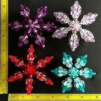 Lot of 4 Vintage Bead Snowflake Ornaments 1970s Crystal Plastic Small Mix No 8