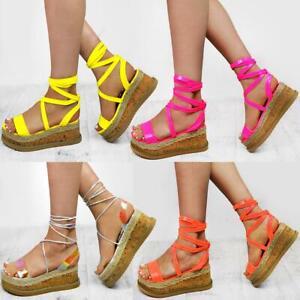 Womens Flatform Summer Wedge Sandals Espadrilles Leg Lace Tie Up Neon Pink Party
