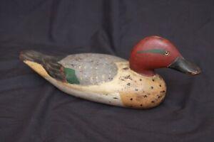 Antique Hand Craved Painted Folk Art Wood Working Glass Eye Red Head Duck Decoy