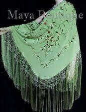 Silk Embroidered Flamenco Piano Shawl Wrap Mint Green Hand Dyed Maya Matazaro