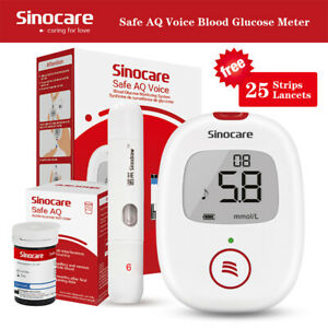 Sinocare Diabetes Test 25Kit Blood Glucose Monitor+Strips With Voice VAT FreeNew