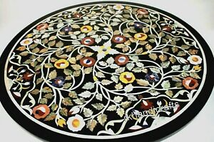 Multi Stones Inlay Art Patio Center Table Top Round Marble Coffee Table 21 Inch