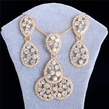 Fashion Elegent Wedding Jewelry Set Gold Rhinestone Necklace/Earrings Set