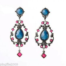 New Lady Blue Plum Crystal Ancient Silver Drop/Dangle Earring 7.1cm E861