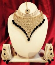 Bollywood Indian Bridal Necklace Earrings Tikka Jewellery Set White Black M30